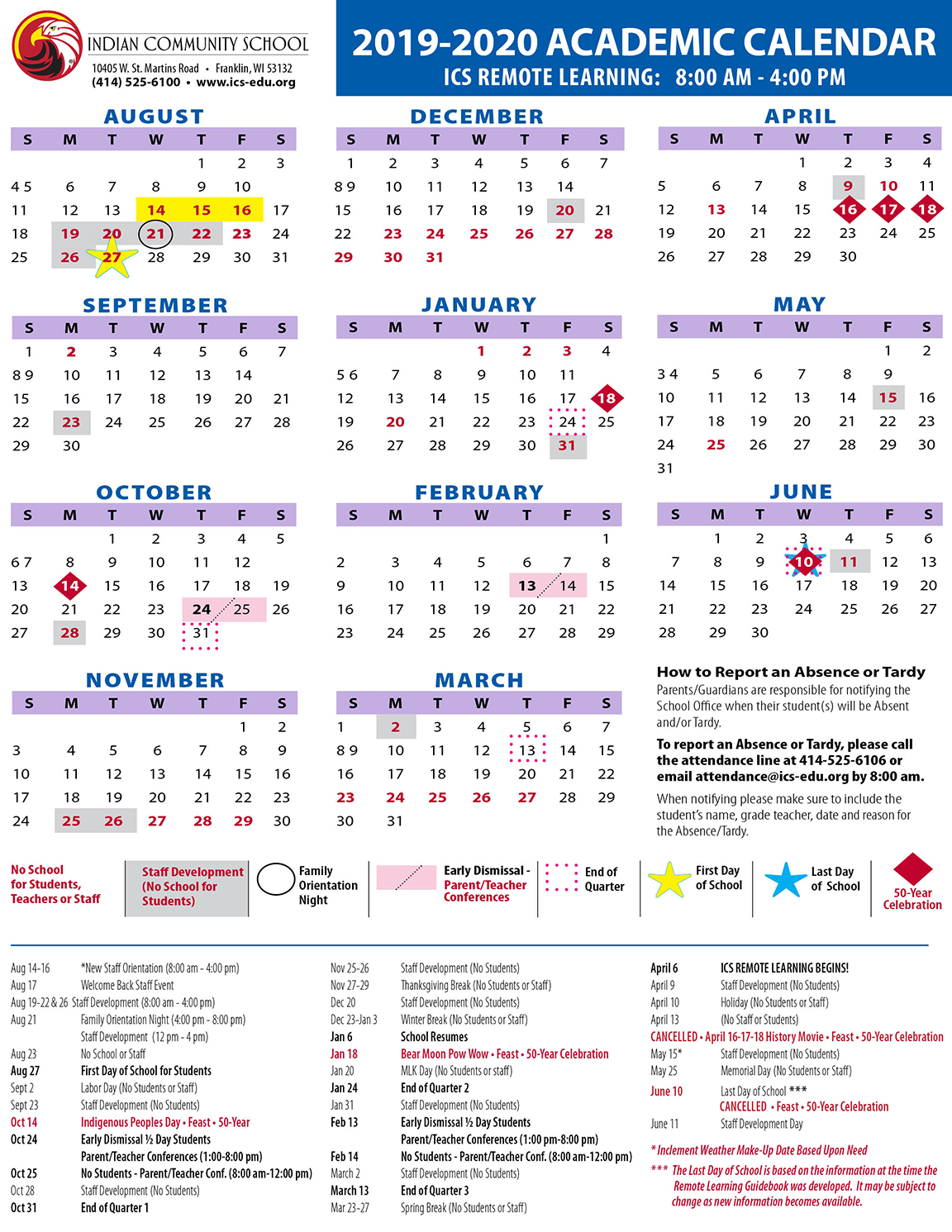 ICS 2019-2020 Academic Calendar revised for Remote Learning